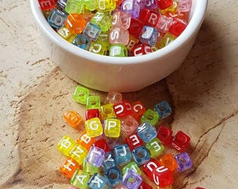 500 square beads multicolor alphabet acrylic 6mm