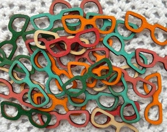 Stained Wood Eyeglasses Cutouts, Retro Wood Cutouts, Wooden Veneers, Scrapbook Embellishments, Cardmaking