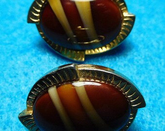 Vintage Sarah Coventry Faux Tiger's Eye Earrings 70s