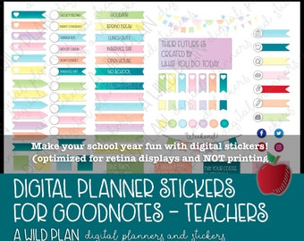 Teacher Digital Stickers for planners - for GoodNotes and digital Planners  | IPad | includes pre-cropped GoodNotes file