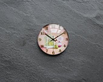 "Cabochon 25 mm glass ""clock"" / pink"