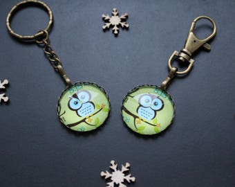 Keychain or jewelry bag owls / green OWL
