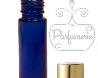 6 Cobalt Blue Glass 10 ml -1/3 oz.  ROLL ON Bottles with Gold Cap metallic essential oil aromatherapy cosmetic PERFUME  cosmetic lip gloss