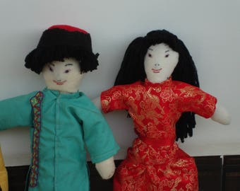 Chinese Boy and Girl Dolls with Handmade Clothes
