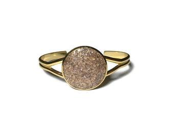 Gold Druzy bracelet, Druzy jewelry, bronze Druzy, cuff bracelet, geode jewelry, geode bracelet, under 20 dollars, gold cuff, drusy, copper