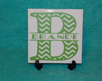 Personalized Chevron Split letter tile 4x4 vinyl on white