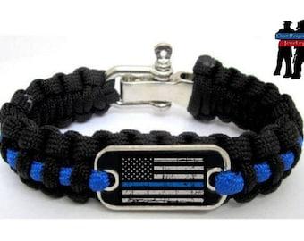 Police Lives Matter Flag Thin Blue Line Cops Paracord Survival Bracelet L/XL