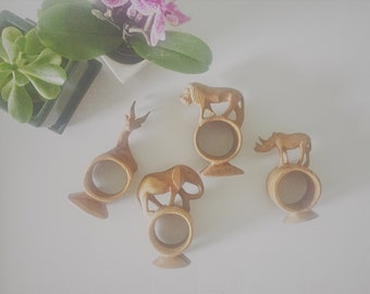 Vintage Napkin Rings, Napkin Holders, Wooden Animals, Set of 4, African, Table Setting, Kitchenware