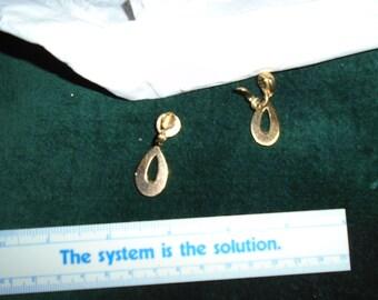 Gold Clip-on dangle earrings
