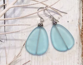 Light Aqua Sea Glass Earrings with Antique Silver Beads, Beach Glass Earrings, Recycled Glass.
