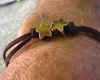 Men's BRACELET with pearls fantasies stars CAMEL suede