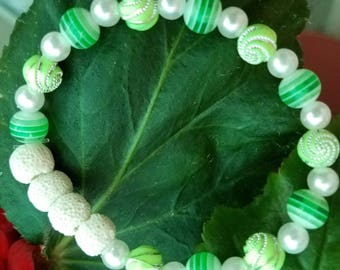 Essential oil diffuser bracelet Green and White