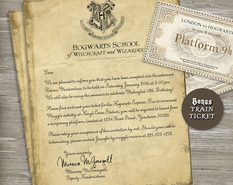 Harry Potter Birthday Party Invitation - Acceptance Letter, Train ticket - Printable Digital File