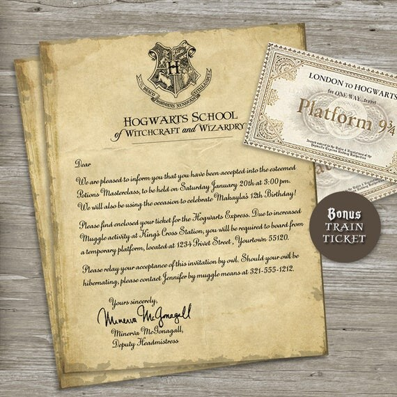 Harry Potter Birthday Party Invitation Acceptance Letter