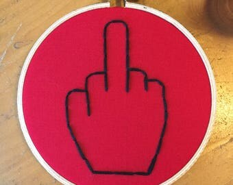 Middle finger embroidery