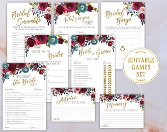 Bridal Shower Games SET, Bridal Games Kit, Editable PDF Template, Floral Marsala/Burgundy and Indigo/Navy Flowers Watercolor, Printable