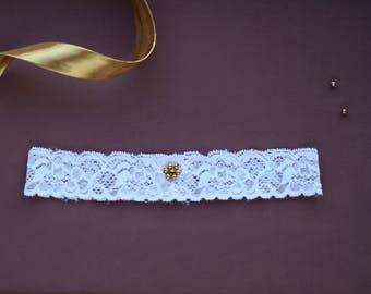 Elegant White Wedding Lace Garter - UK Limited availability