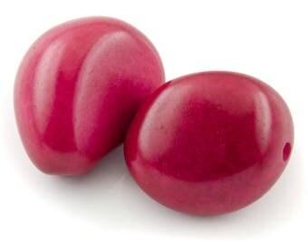 40mm fuchsia Tagua seed bead