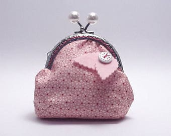 Purse with snap closure, cloth purse, Clac Click Purse, pink purse, purse with automatic closure