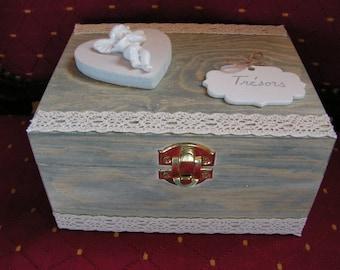 My Angel, lace and grey wooden jewelry box ecru