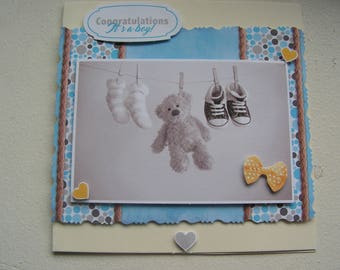 """Congratulations"" 3D boy birth congratulations card"