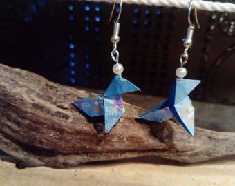 """Cranes"" blue origami earrings"
