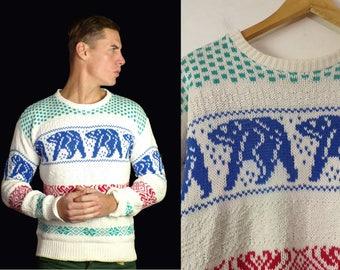 80s Polar Bear Sweater Mens Medium, Winter Sweater, Polar Bear Sweater, Retro Sweater, Pullover Sweater, Mens Winter Sweater, Polar Bear,80s