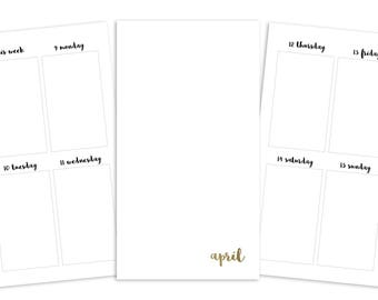 Personal April Weekly Printable Insert - TN/Ring Planner - Plain Cover
