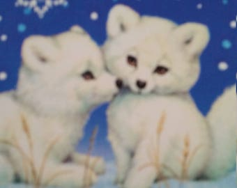Vintage Greeting Card - Morehead Regal Christmas  Greeting Card - Snuggling Cubs