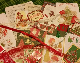 Holly Hobbie Sarah Kay Christmas Scrapbook Pack / 40 Pieces / Vintage & New / Collage pack/junk journal pack / pen pal lot