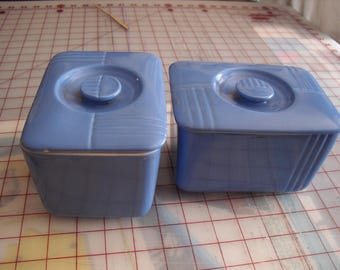 Westinghouse Vintage Blue Refrigerator Storage Dishes by Hall China