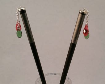 Hairsticks with Sterling Silver and Crystal Accents
