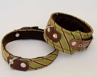Dog collar/dog collar olive-burgundy striped