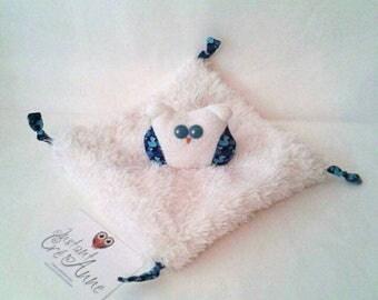 """Doudou """"hiboudou"""" off white and blue ducks pattern"""