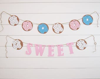 Sweet Donuts Party Banner Set-6ft Doughnut Party Decoration-Donut Sweet 16-Sweet Baby Shower-Sweet One Party-Donut Party-Donut Decotation