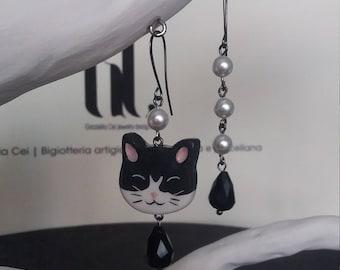 Ceramic cat earrings