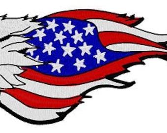 US Eagle Flag Embroidery File