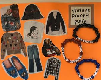 Vintage Preppy Punk Gift Set, Set of 3, Bracelets, Bead Bracelets, Handmade, Activist Support