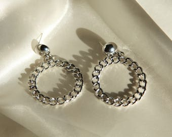 Silver Chain Earring/Solid silver chain Earring/SilverChain Hoop Earrings/Vintage silver earring/g/Round Earring/Round chain hoop