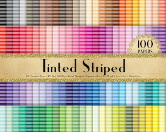 """100 Seamless Tinted Striped Papers in 12"""" x 12"""", 300 Dpi Planner Paper, Commercial Use, Scrapbook Paper,Rainbow Paper,100 Striped Papers"""