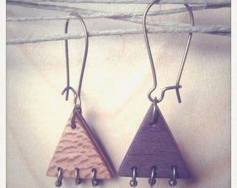 Earrings wooden triangles