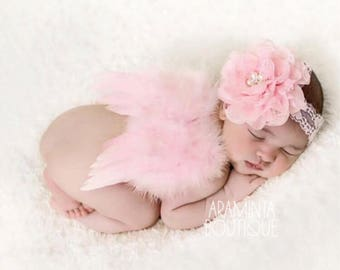 Newborn angel wings and pearl & diamante flower headband, Newborn Photoshoot Prop, Pink Angel Wings, Sparkle Baby Headband