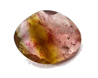 Tourmaline 3.30 cts Natural Bi-color Tourmaline Polki 11x14 mm Both Side Faceted Rose Cut Loose Gemstone - 3765