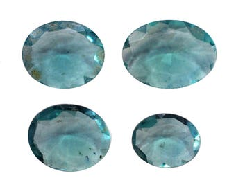 Fluorite Natural Greenish Blue Fluorite Cut Stone Both Side Faceted Oval Shaped 13.10 Cts 4 Pieces For Designer Jewelry (3965)