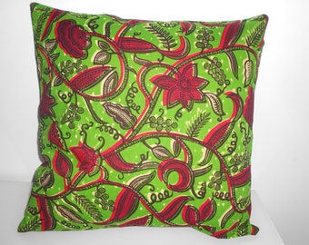 50 cm x 50 cm wax pillow cover - Mango Red and green leaves