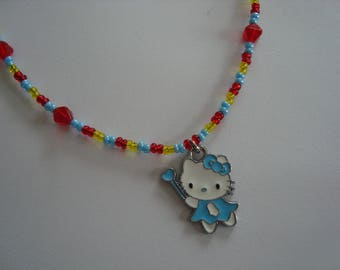 Cat Necklace blue and white