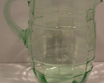 Macbeth Evans Yankee Green Depression Glass Barrel Pitcher