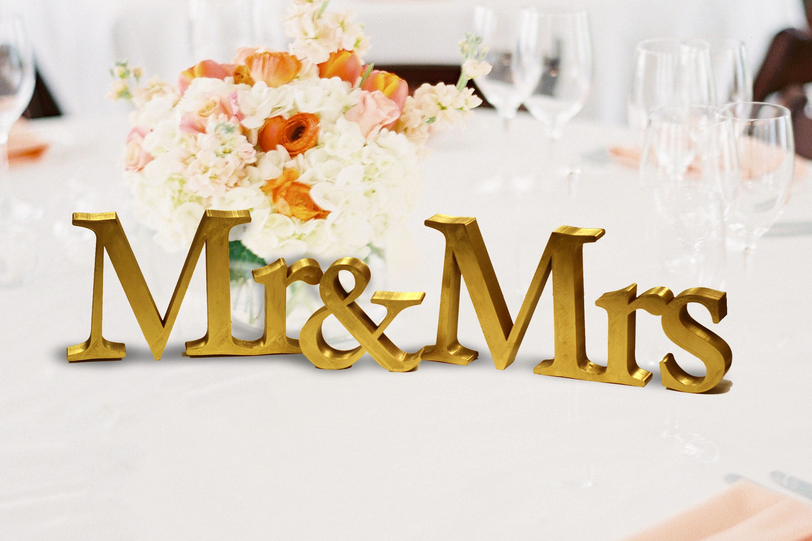 Mr and Mrs Table Sign, 5in. Vintage Sweetheart table wedding ...