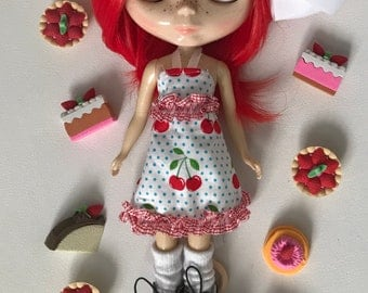 "FREE US Shipping Cherry Dress 12"" Doll BJD Pullip Blythe Ooak"