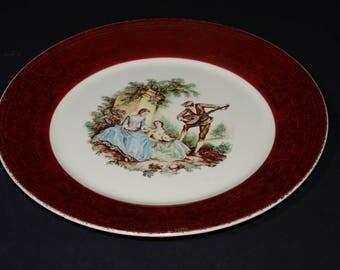 Vintage, Sebring Co., Serenade, Dinner Plate, 22k Gold, Dinnerware, Made in USA, T-S284, Burgundy Rim & Gold Detail